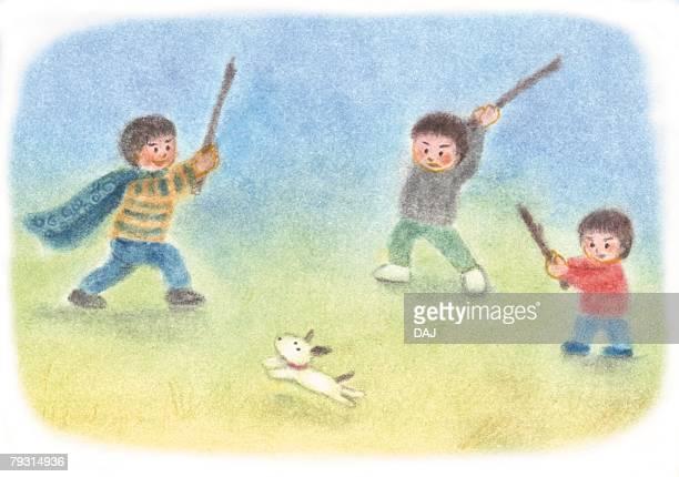 Children playing sword fight, Illustration