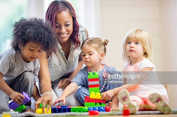 Children Playing with Blocks in Preschool