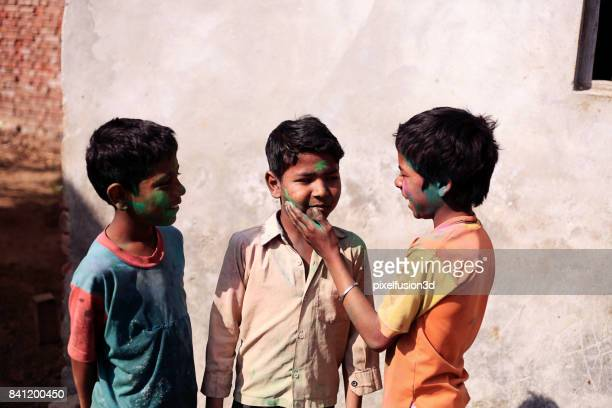 Children playing with colors