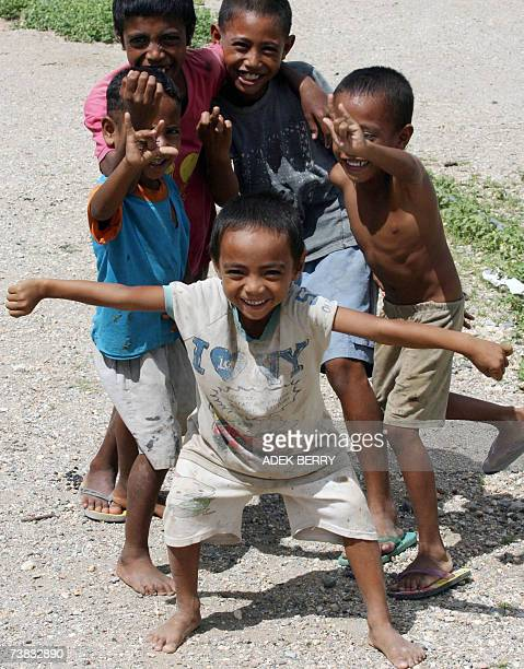 Children pose for a photo in Baucau 07 April 2007 The April 9 election will be the first since East Timor formally won independence in 2002 Eight...