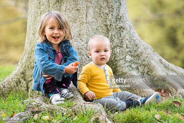 Children posing at a park