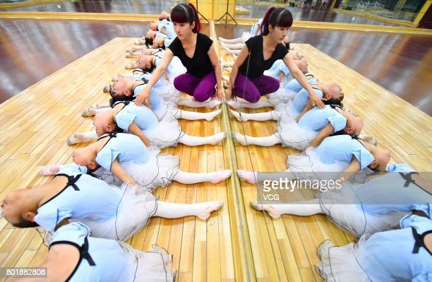 Children practice dance moves at a dance training centre on June 27 2017 in Haozhou Anhui Province of China Under the guidance of professional...