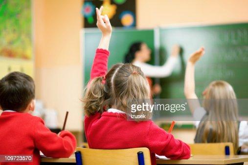 Children Raising Hands In Class, Rear View