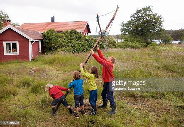 Children raising maypole