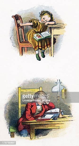 Children reading German illustration 1871