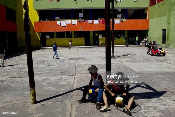 Children remain inside 'La Gran Familia' shelter where more than 48 hours ago police rescued 596 people including 458 children in Zamora Michoacan...