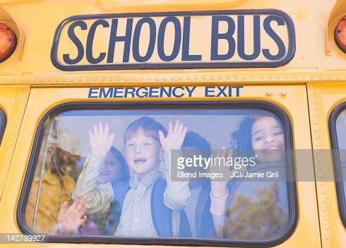 Children riding school bus