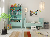 Children room scandinavian style 3 D rendering