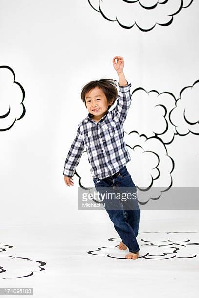 children running  on the clouds