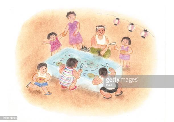 Children scooping goldfish, Illustration