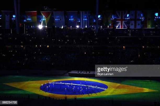 Children sing the national anthem of Brazil during the Closing Ceremony on Day 16 of the Rio 2016 Olympic Games at Maracana Stadium on August 21 2016...