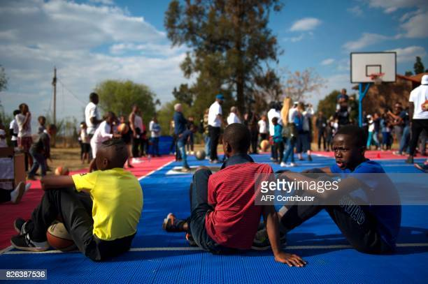 Children sit during a basketball clinic practice with NBA players from various countries on the eve of the NBA Africa Game 2017 basketball match...