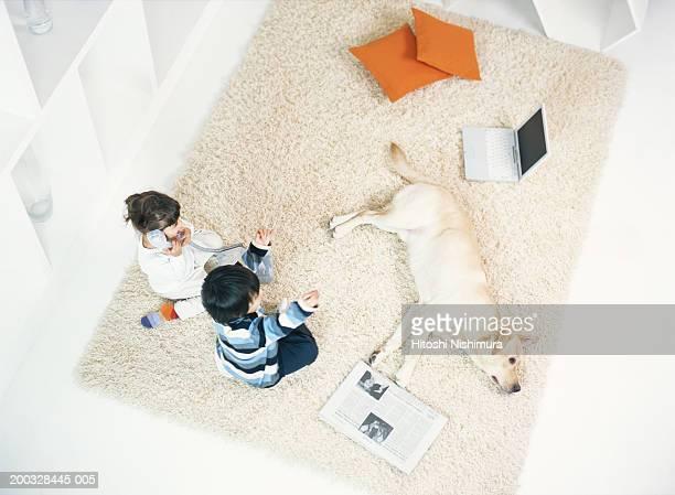 Children (3-4) sitting on rug, dog lying down, overhead view