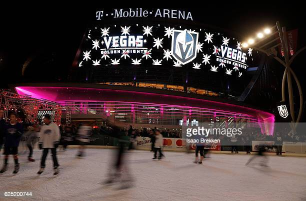 Children skate on an ice rink after the NHL unveiled the new logo and name for the Vegas Golden Knights in Toshiba Plaza at TMobile Arena November 22...
