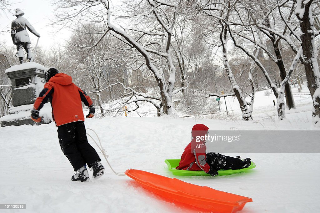 Children sled in Central Park after winter storm Nemo covered New York City with 4 to 8 inches (10-20cms) of snow on February 9, 2013. The storm was forecast to bring the heaviest snow to the densely-populated northeast corridor so far this winter, threatening power and transport links for tens of millions of people and the major cities of Boston and New York. New York and other regional airports saw more than 4,500 cancellations ahead of what the National Weather Service called 'a major winter storm with blizzard conditions' along most of the region's coastline.