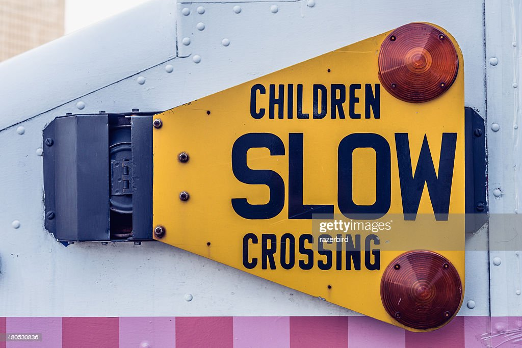 Children Slow Crossing Traffic Sign on a truck : Stockfoto