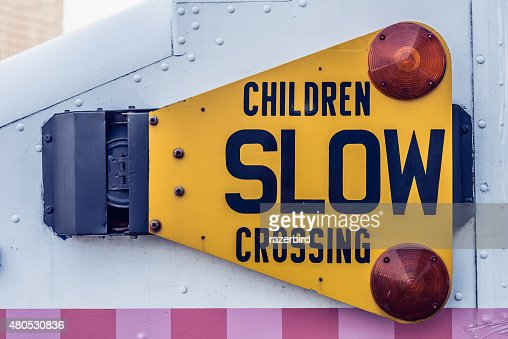 Children Slow Crossing Traffic Sign on a truck : Stock Photo