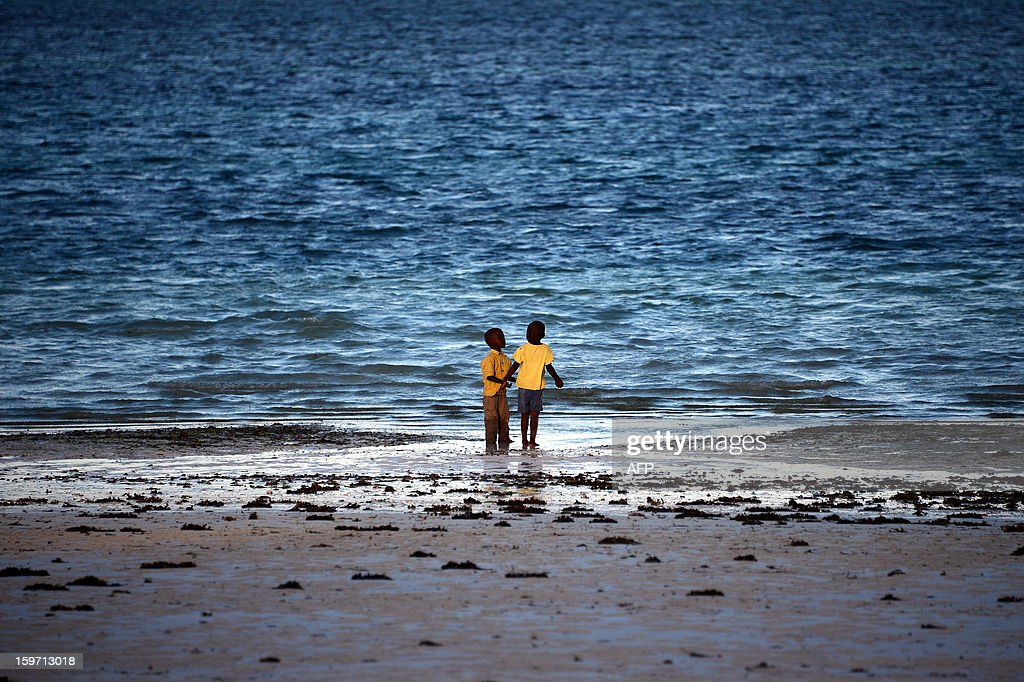 Children stand on a beach on January 8, 2013 in Zanzibar. AFP PHOTO / GABRIEL BOUYS