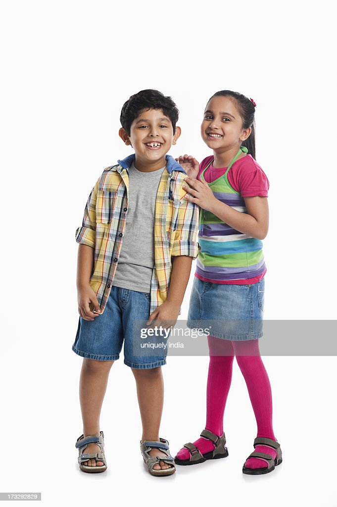 Children standing together and smiling : Stock Photo