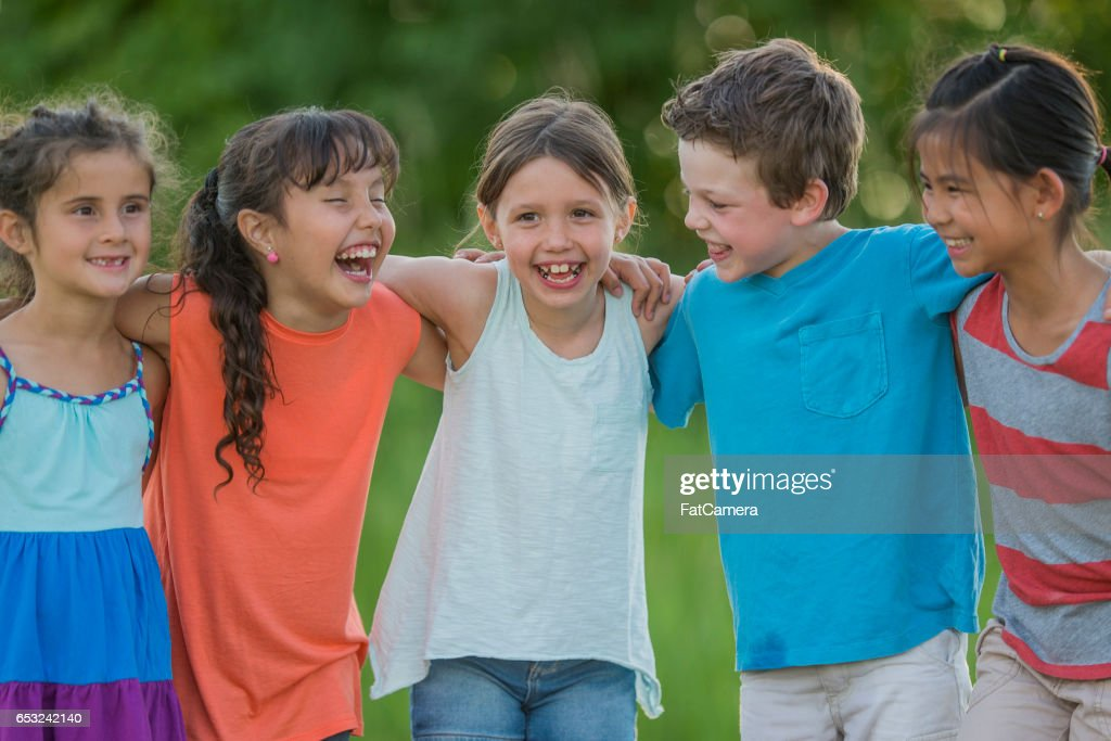 Children Standing Together : Stock Photo