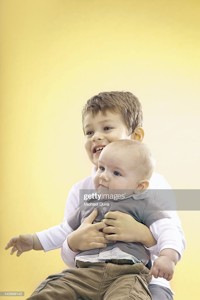 children studio portrait of brothers : Stock Photo