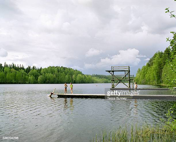 Children swimming at Lake Kohniojarvi Jyvaskyla Central Finland Jyvaskyla is the capital of Central Finland and the largest city in the Finnish...