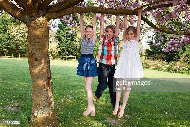 Kinder schwingen von Baum im Garten