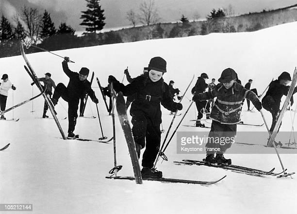 Children Take A Ski Lesson At Ski Resort In The Winter December 2 1946