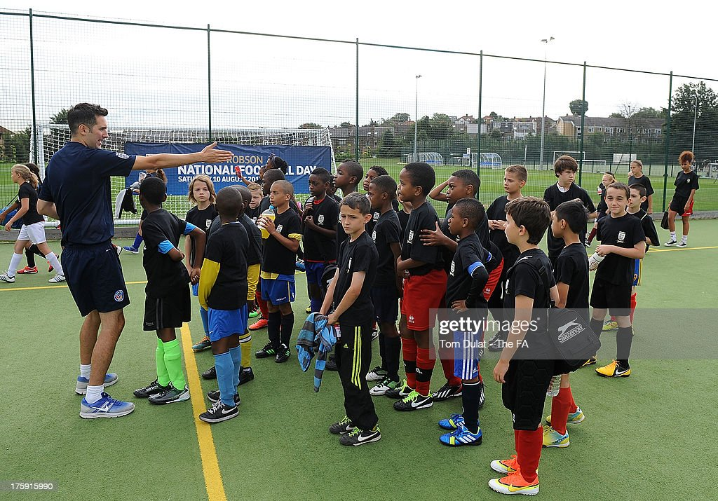 Children take part in activities during The FA's Sir Bobby Robson National Football Day at Kings College Sports Ground on August 10, 2013 in London, England.