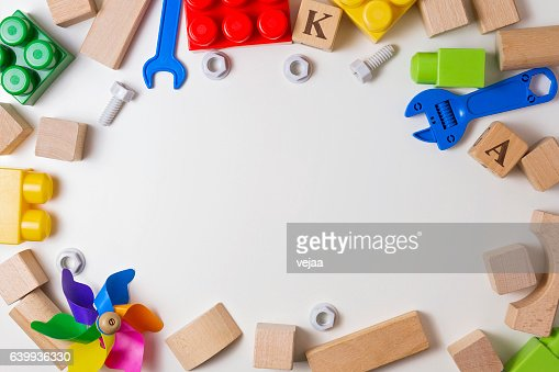 Children toys on white background as frame with copy space : Stock Photo