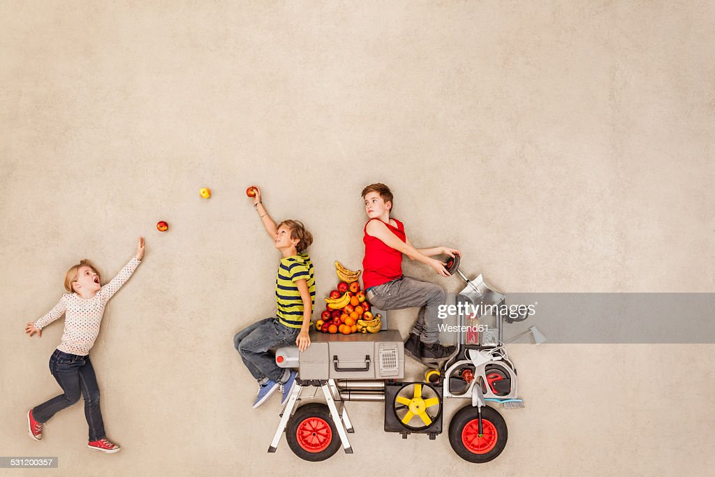 Children trying out new vehicle