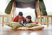 Children Under a Homemade Fort