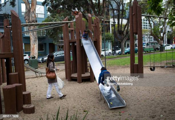 Children use a playground slide April 14 2014 in the heart of the South Park's startup district in San Francisco California It's rumored that Twitter...