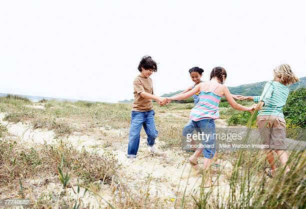 Children Vacationing on the Beach