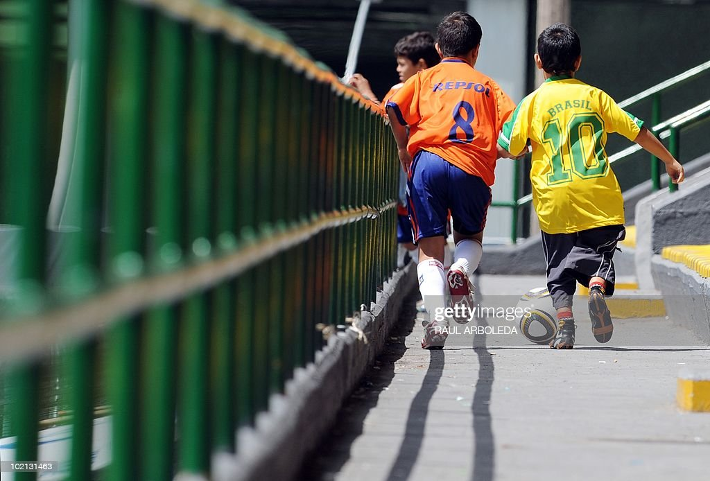 Children vie for the ball during the 'Mundialito' football tournament in Medellin, Antioquia department, Colombia on June 15, 2010. The 'Mundialito' tournament takes place every four years with the participation of Medellin soccer schools. AFP PHOTO/Raul ARBOLEDA
