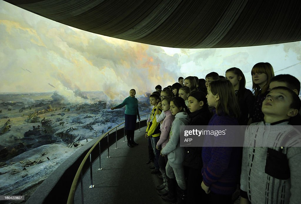 Children visit Stalingrad Battle Panorama in the Russian city of Volgograd, formerly Stalingrad, on January 31, 2013. In a new display of national pride and reminder of its status as a world power, Russia remembers this weekend the Red Army victory in the battle of Stalingrad over invading Nazi forces, one of the bloodiest battles in human history.
