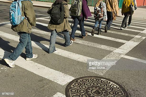 Children walking across road