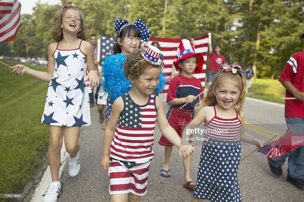 Children walking in Fourth of July parade