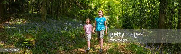 Children walking though idyllic summer forest woodland panorama