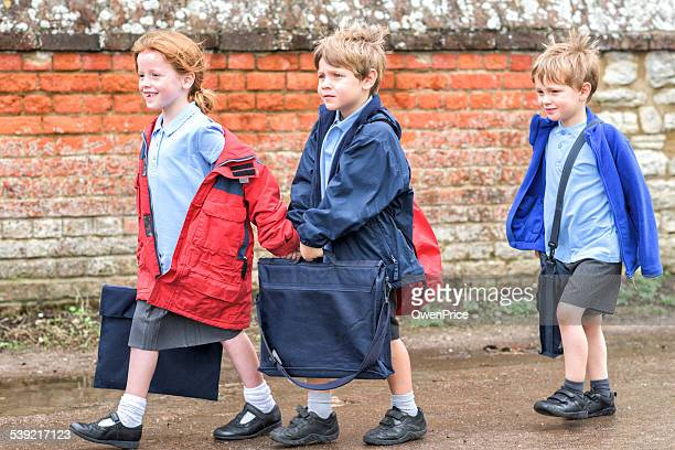 Children walking to UK primary school