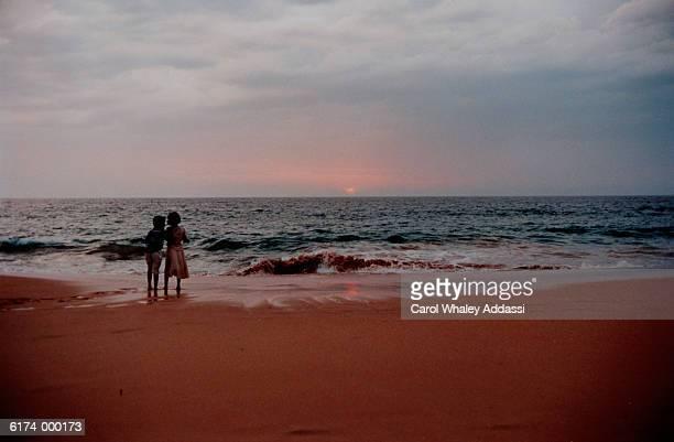 Children Watch Beach Sunset