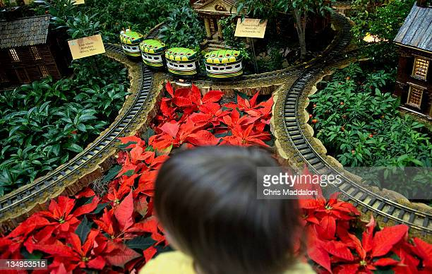 Children watch model trains at the US Botanic Garden which is a popular Christmas seasonal exhibit with a variety of trains weaving throughout the...