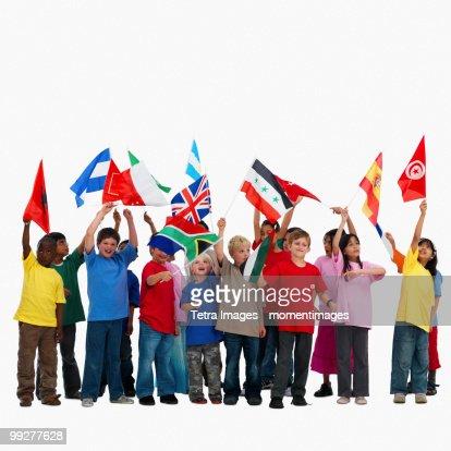 Children waving flags