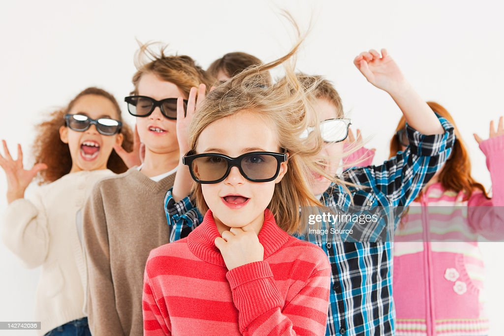 Children Wearing 3d Glasses Stock Photo | Getty Images