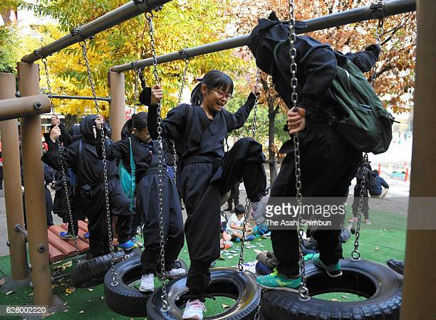 Children wearing Ninja costumes play on December 4 2016 in Tokyo Japan The event is hosted by Iga and Koka city where are both famous as hometown of...