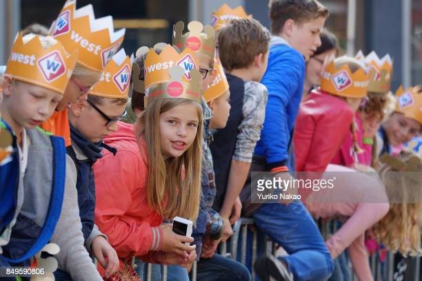Children wearing paper crowns wait for the start of the Prinsjesdag the openingday of Dutch parliament on September 19 2017 in The Hague Netherlands...