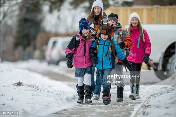 Children Wearing Snow Clothes in Winter