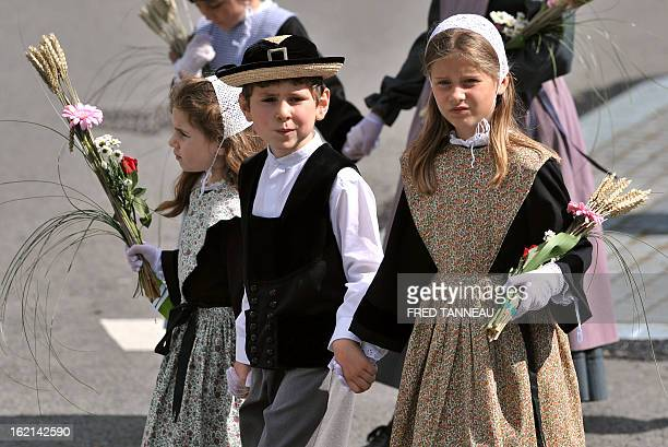 Children wearing traditional clothes parade on August 7 2011 in Lorient during the celtics nations Great Parade of the 'festival interceltique de...