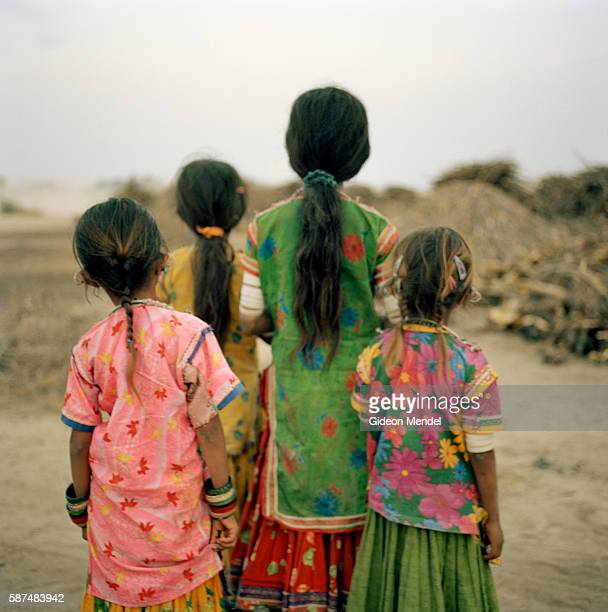 Children wearing traditional dress in Harijan Vaas one of the hamlets that make up the Hodka village This is an area widely known for its traditional...