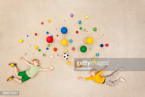 Children with colorful balls
